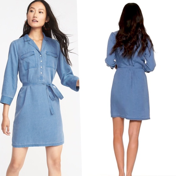 1d9663f836715 New Utility Tie-Belt Shirt Dress blue xxl 2x 18 20